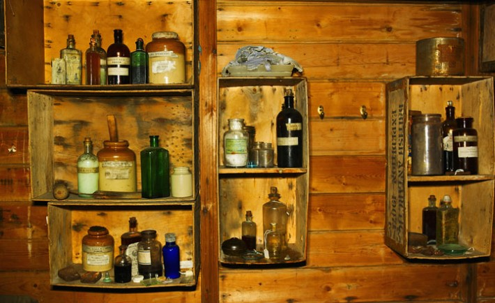 Shackleton's Hut at Cape Royds, interior shelving with bottles, Ross Island, Antarctica, Image: 43243529, License: Rights-managed, Restrictions: , Model Release: no, Credit line: Profimedia, imageBROKER