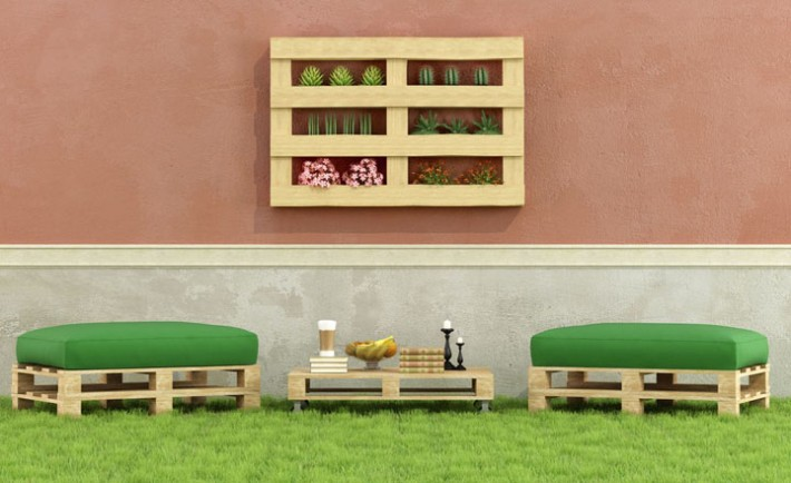 Garden with furniture made from old wooden pallet - 3D Rendering, Image: 221786962, License: Royalty-free, Restrictions: , Model Release: no, Credit line: Profimedia, Stock Budget