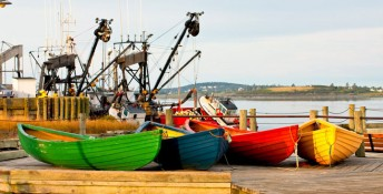 Colorfull dories on Yarmouth waterfront, Nova Scotia, Canada, Image: 294214775, License: Rights-managed, Restrictions: , Model Release: no, Credit line: Profimedia, All Canada Photos