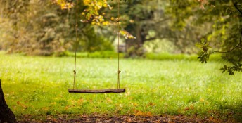 Empty swing placed in the garden, Image: 263062778, License: Royalty-free, Restrictions: , Model Release: no, Credit line: Profimedia, Alamy